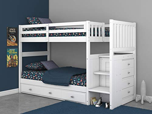 Product Image of the Twin Over Twin Stair Stepper Bed with 3 Drawers in White Finish