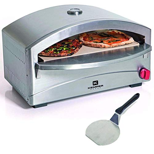 Single Gas Barbecue/Pizza Oven with Pizza Stone | 4.8 kW | 400°C in 5 Minutes | Piezoelectric Ignition | Stainless Steel