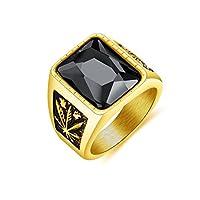 Rockyu 指輪 メンズ おしゃれ 人気 リング メンズ チタン 指輪 一粒 大粒 豪華 印台 ジルコニア ブラック ヨーロピアン