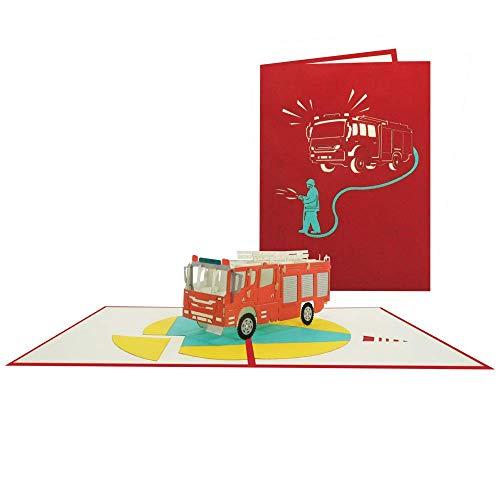 Pop Up Karte Feuerwehr 3D Geburtstagskarte Feuerwehrmann Glückwunschkarte Geburtstag - Feuerwehrauto 201