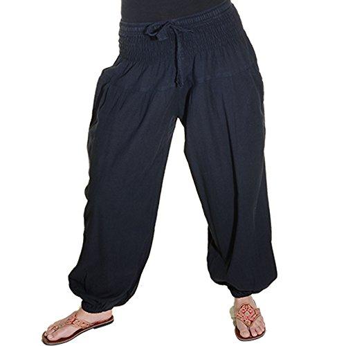 KUNST UND MAGIE Damen Pluderhose Haremshose Sommerhose Hippie Goa Wellness Yoga, Farbe:Black/Schwarz, Größe Damen:42-44(XXL)
