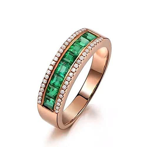 AueDsa Anelli Donna Oro Rosa 18K 750 Rond Emeraude Vert 1.03ct Diamant 0.13ct Misura Anello 13
