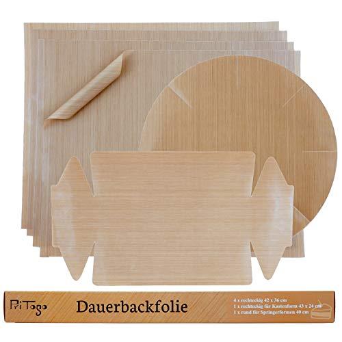 Pritogo Dauerbackfolie (6er Set) - Backpapier, Backfolie, Backunterlage, 36 x 42 cm (6er Pack – 4 x eckig, 1 x Springform rund, 1x Kastenform) zuschneidbar, spülmaschinenfest