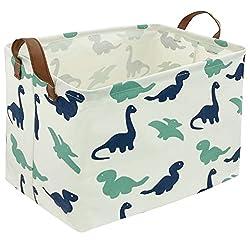5. EESSME Rectangular Fabric Dinosaur Storage Basket with Handles