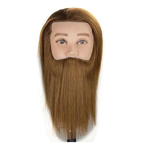 WANGXN Cabeza de maniquí de Hombre Cabello Humano Real con Barba...