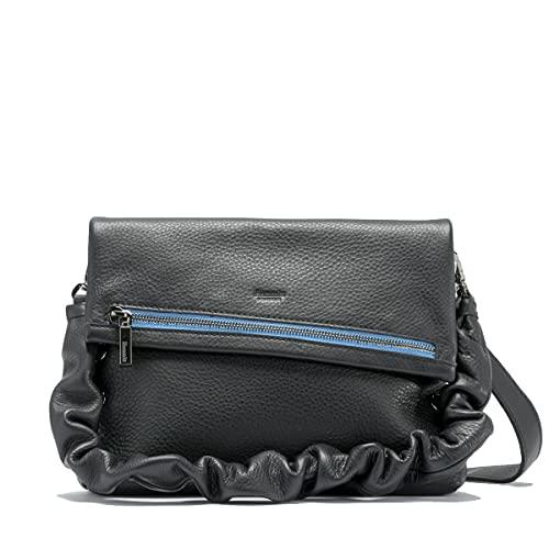 Hammitt Vip Medium Black Blue Sky light Rouched Extra Strap Leather handbag Bag NEW