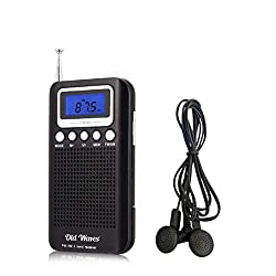 AM FM Portable Digital Radio Head Phones & Alarm Clock. Great Reception, Compact Pocket Radio w Extending Antennae. Uses 2 AAA Batteries. Great for Emergencies, Camping, Power Outage as a Gift