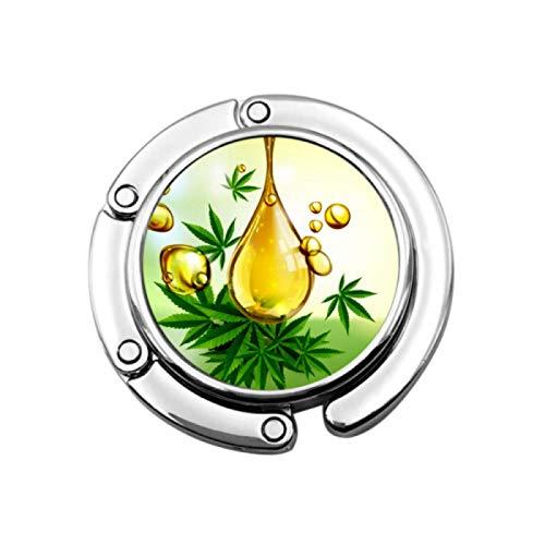 Gancho del Monedero Plegable Marihuana Cannabis Gota del Aceite Verde del Vector...