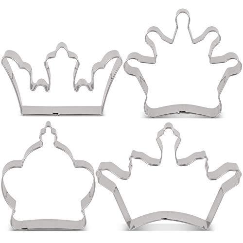 KENIAO Juego de Cortadores de Galletas en Forma de Corona Moldes para Galletas - 4 Piezas -Corona de Rey, Corona de Reina, Corona de Príncipe y Corona de Princesa - Acero Inoxidable