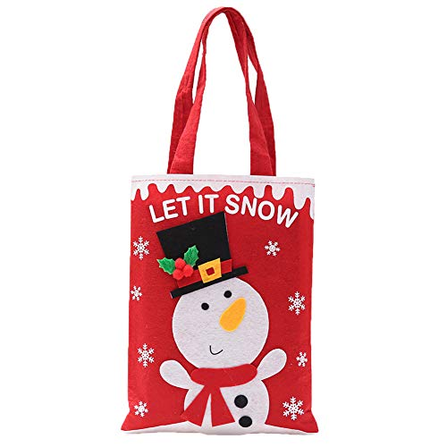 Topdo Bolsa de Regalo Navidad con Cajas de Muñeco de Nieve Lindo Portátil Gift Bag para Navidad Fiesta de Boda Bolsas de Regalo 1 Pieza Rojo 20 * 27cm