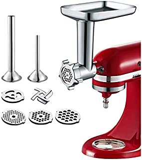 Gvode Food Meat Grinder Attachment for KitchenAid Stand Mixers Included 2 Sausage Stuffers