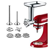 Gvode Food Meat Grinder Attachment for KitchenAid Stand Mixers Included 2 Sausage Stuffers & 4 grinding plates