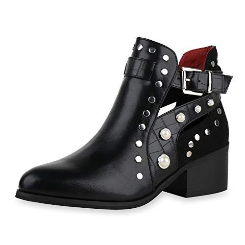 SCARPE VITA Damen Ankle Boots Lederoptik Stiefeletten Nieten Kroko Zierperlen Cut-Outs Schuhe Kurzschaft-Stiefel 197849 Schwarz 36