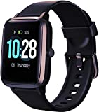 Connected Women's Watch,Smartwatch Men's IP68 Waterproof Connected Bracelet Cardio Pedometer Smartwatch Sport Fitness Activity Tracker Music Control for Android iPhone (Black)