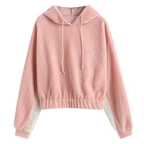 Buy Bargain HNTDG Women Autumn Winter Warm Long Sleeve Casual Sweatshirt Plush Stitching Hooded Top ...