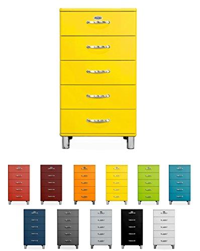 Tenzo Malibu Designer Chiffonnier avec 5 Tiroirs, Panneaux de Particules & MDF, Jaune, 60 x 41 x 111 cm