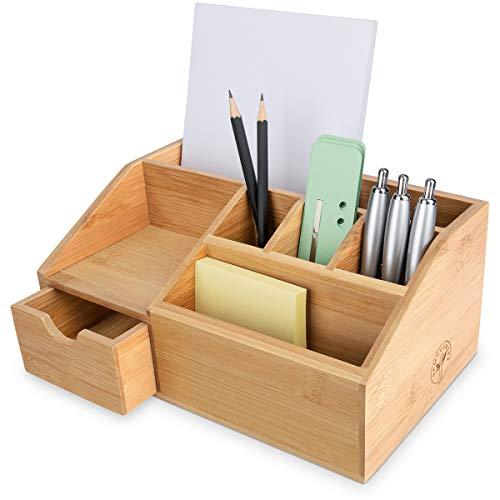 Bambuswerk I Schreibtisch-Organizer aus Holz I Stiftehalter mit Schublade - Aufbewahrungsbox, Stiftebox, Schreibtischablage I Schreibtischorganisator für Büro, Home Office