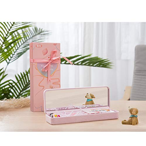 Pencil Case for Girls,Cute Velvet Cloth Pen Box,Simple and Lovely Portable with Mirror, Student Stationery Cosmetic Storage Bag (Pink)