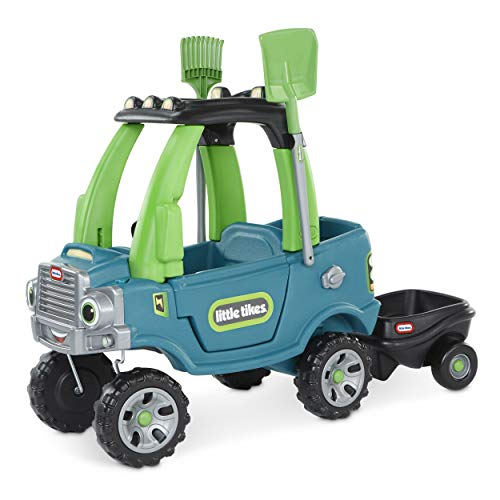 Little Tikes Go Green! Cozy Truck w/ Trailer & Garden Tools for Kids | Recycled Plastic