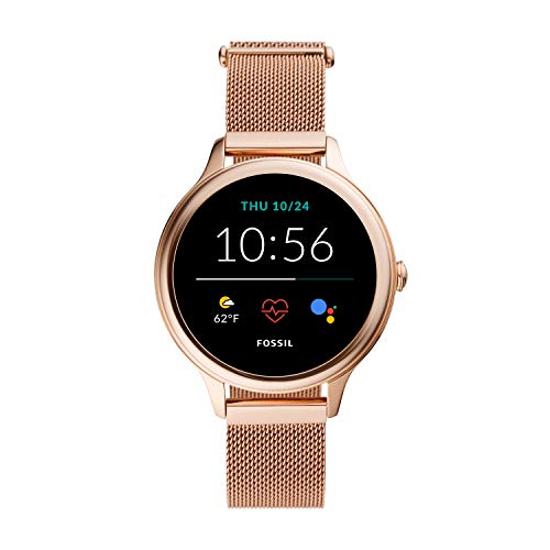 New Fossil Women's 42MM Gen 5E Stainless Steel Mesh Touchscreen Smart Watch, Color: Rose Gold (Model: FTW6068)