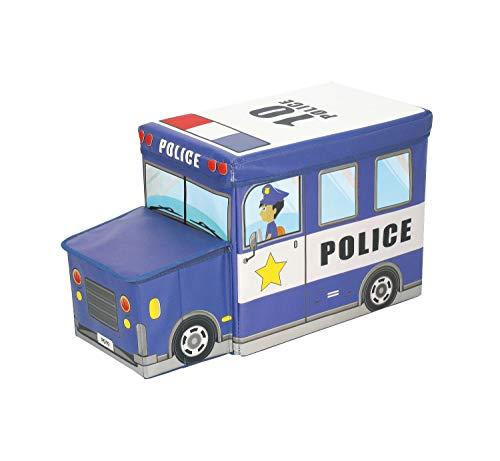Bieco opbergdozen met zitbank, opbergruimte, deksel met bekleding, inklapbaar Politie