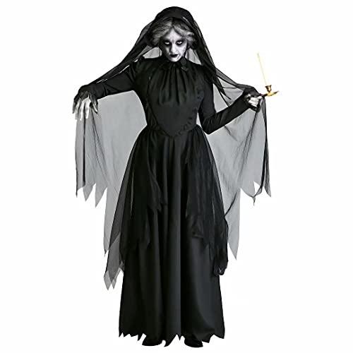 Disfraz de Novia Fantasma de Halloween, Vestido de Capa Negra de Vampiro...