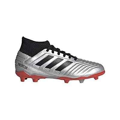 adidas Unisex-Kid's Predator 19.3 Firm Ground Soccer Shoe, Silver Metallic/Black/hi-res red, 5 M US Big Kid