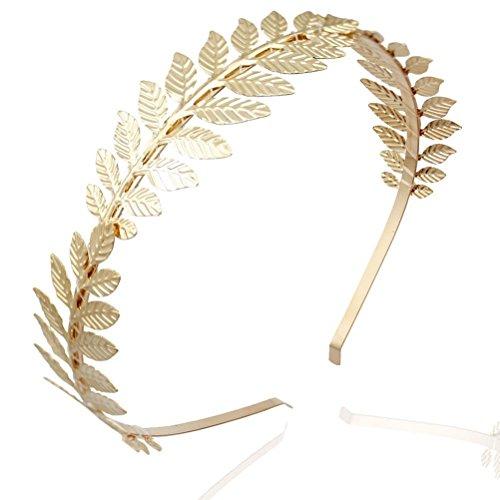 Pixnor Blattgold Haarreif Vintage Boho Alice Braut Haar Krone Leaf Tiara