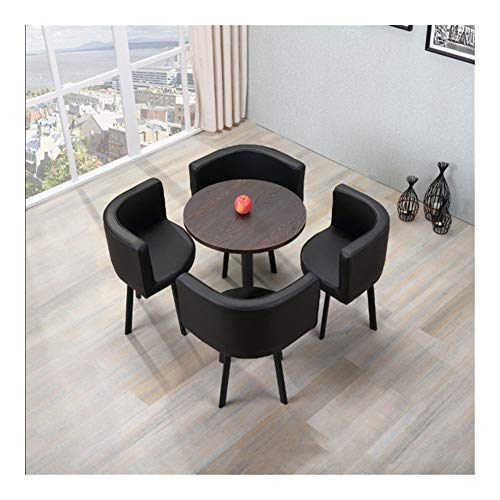 TXOZ-Q Tisch Stuhl 5-teilig Modern Vintage Verhandeln Start Kombination Einfacher Empfang Freizeit Leder Kaffee Sofa Sitz Büro Lounge (Color : Schwarz)