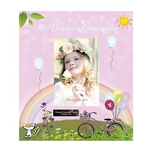 Libro de comunión para firmas y Fotos, Personalizado con Placa grabada con Nombre y Fecha (Rosa 2)
