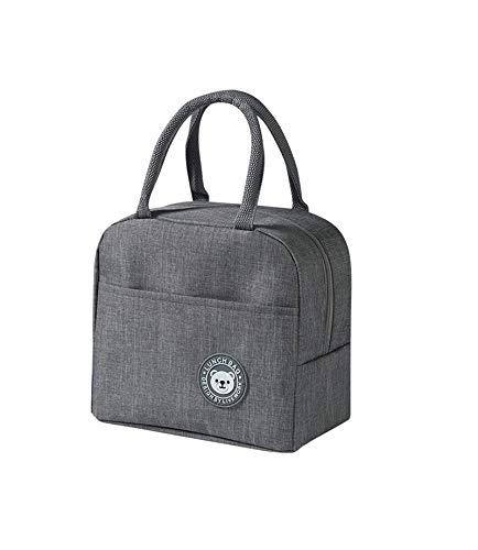 Una bolsa de almuerzo térmica gris, bolsa de aislamiento portátil, bolsa de almuerzo para hombres y mujeres, se puede utilizar para picnic, trabajo, etc. (gris)