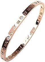 Baoli Zircon Jewelry Roman Numerals Bangle Bracelet for Women (rose gold)