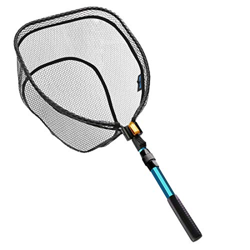 SAN LIKE Fishing Landing Net,Fly Fish net,Foldable Rubber Coating Net,Durable Nylon Material Mesh,Special Belt Clip,Safe Fish Catching or Releasing