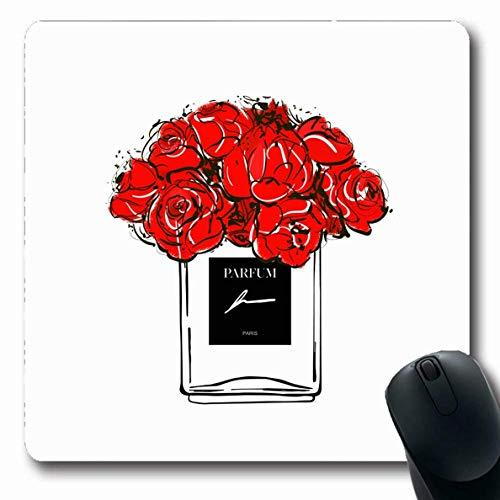 Mausepad Rote Zeichnung Blumen Handgezeichnet Französisch Parfüm Schönheit Aquarell Trend Zubehör Zubehör Aroma Gummi Mousepad Maus Matte Laptop 25X30Cm Längliche Schulspiele Ruts