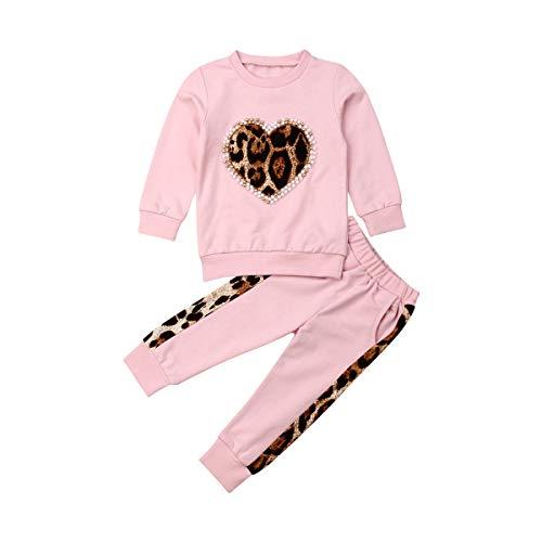Carolilly Juego de 2 piezas de sudaderas para niña recién nacida con perla y estampado de leopardo, camiseta deportiva con capucha, pantalones y mallas Rosa 4- 5 Años