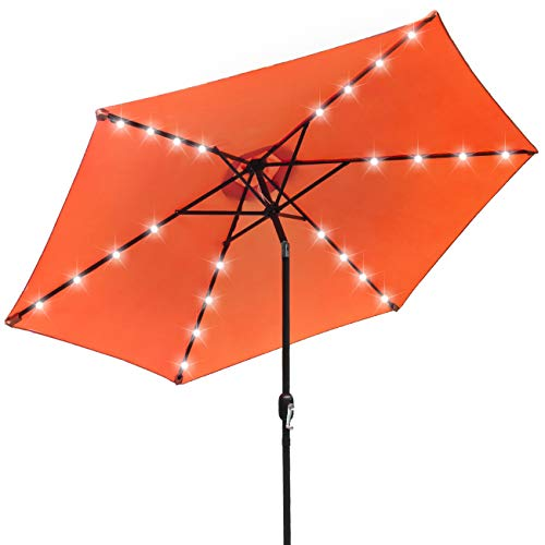 Sorbus LED Outdoor Umbrella, 10 ft Patio Umbrella LED Solar Power, with Tilt Adjustment, Turn Crank Clockwise When Opening Umbrella, Always Close Umbrella When Not in Use (Solar LED - Orange)