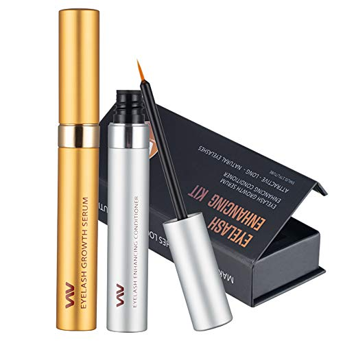 Eyelash Growth Serum Kit, Eyelashes & Eyebrows Booster - Essential Serum (5 mL) & Enhancing Conditioner (5 mL) for stronger, Thicker Eyelashes & Brows