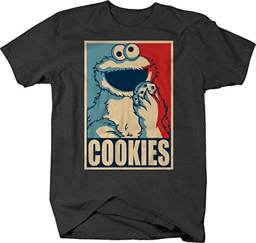 Believe in Cookies Cookie Monster Politcal Poster Tshirt for Men 2XL Graphite