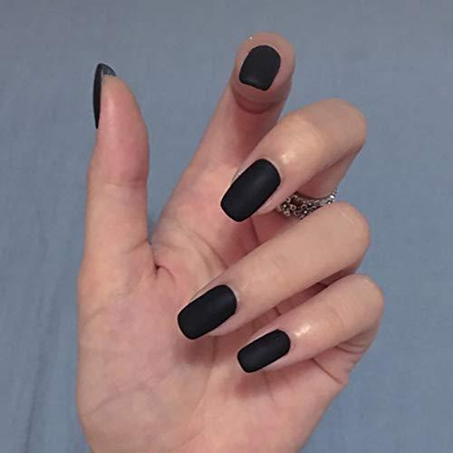 Bohend Oval Fake Nails Glänzend Voll Cover 24Stücke Blau Schwarz Blume FALSE Nägel Tipps Für Frauen Und Mädchen