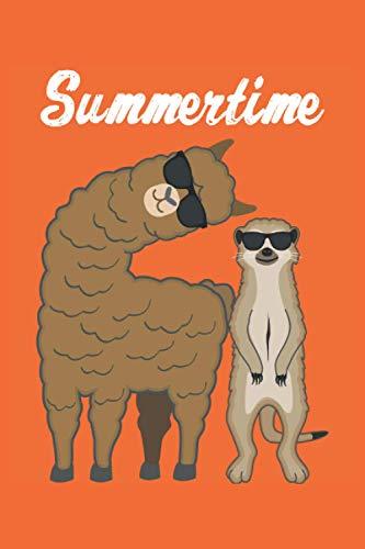 Summertime - Sommer Tiere Geschenk Notizbuch (Taschenbuch DIN A 5 Format Liniert): Cooles Lama und Erdmännchen mit Sonnenbrille Notizbuch, Notizheft, ... als Geschenkidee für Damen, Herren und Kinder