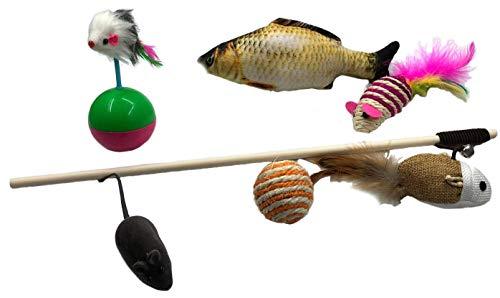 猫 おもちゃ 猫じゃらし 羽のおもちゃ 竿 ネズミおもちゃ 猫 蹴り おもちゃ6点セット