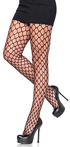 Leg Avenue medias de rejilla para mujer agujeros cuadrados negros talla única