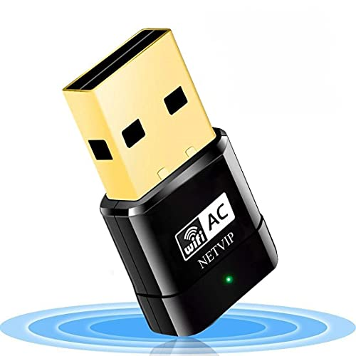 NETVIP Adattatore USB Scheda di Rete 600Mbps WiFi USB Dual Bande (150bps 2.4G & 433Mbps 5.8G) USB 2.0, Mini Chiavetta Compatibile con PC Desktop Laptop Supporto Windows 10 8 7   Vista XP Mac OS
