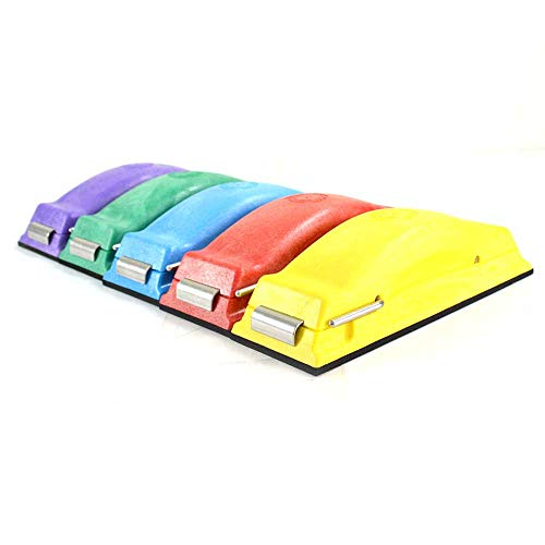 Time Shaver Tools Preppin' Weapon Ergonomic Sanding Block, for Wet and Dry Sanding! Easy to Load, Plain Paper Sander! Complete Set of 5 Color Coded Hand Sanders in Yellow, Blue, Green, Purple and Red.
