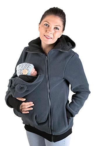 fun 2B mum Baby-Tragejacke, Kängurujacke mit Öhrchen aus Fleece, Graphite/Black, Größe M (38)