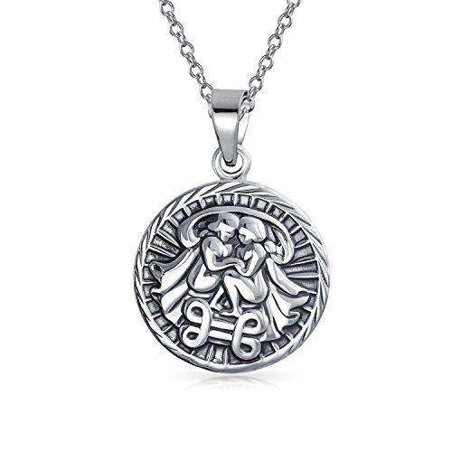 Géminis Signo Del Zodíaco Astrología Horóscopo Medallón Colgante Redondo Para Hombres Mujer Collar De Plata Esterlina