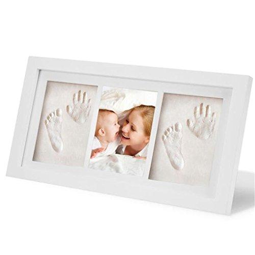 Baby Bilderrahmen für Handabdruck & Fußabdruck, RoseFlower DIY Gips & Abdrucksets für Hände und Füße als Foto-Collage - Andenken Taufe Babyabdruck Babyrahmen Taufgeschenk Neugeborene Handprint #3