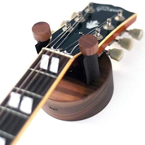 Soporte guitarra pared para guitarra electrica y guitarra acústica hecho de madera maciza de Nogal Americano Fabricado en España Colgador guitarras eléctricas y guitarras acústicas. (Nogal)