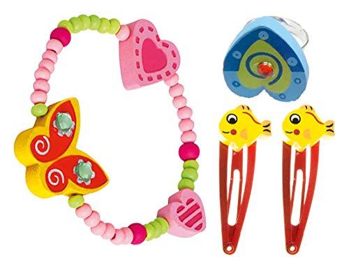 Bino 4 TLG. Set Holzschmuck Mädchenschmuck Kinderschmuck Motiv Schmetterling Gelb - Armband Ring 2 Haarspangen