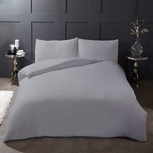 Highams 100% Brushed Cotton Duvet Cover with Pillowcase Plain Flannelette Thermal Bedding Set, Grey Silver - Double, BRCGY12